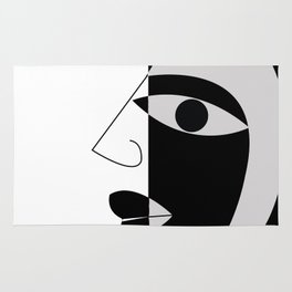 Black and white face Rug
