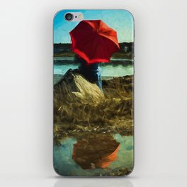 Girl with Red Umbrella iPhone Skin