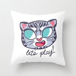 Baby Big Cats Playful Snow Leopard Cub Throw Pillow