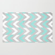Teal & White Herringbone Chevron on Silver Wood Rug