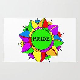 Rainbow Pride Mandala - White Background Rug