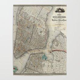 Brooklyn New York City Vintage Map Poster