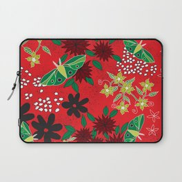 Green Moths on Red, Black, and White Floral Laptop Sleeve