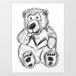 Teddy Bear singing Christmas carols Art Print