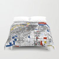 kansas Duvet Covers featuring Kansas City  by Mondrian Maps