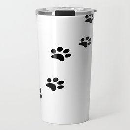 Black cat paw prints on white Travel Mug