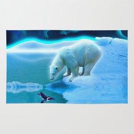 The Encounter - A Polar Bear & Penguin Fantasy Rug