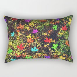 maple leaf in blue red green yellow pink orange with green creepers plants background Rectangular Pillow