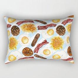 American Diner Breakfast on Blue Rectangular Pillow