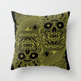 Ace of Spades Gold Skull Playing Card Throw Pillow