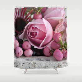soft pink rose and berry still life Shower Curtain