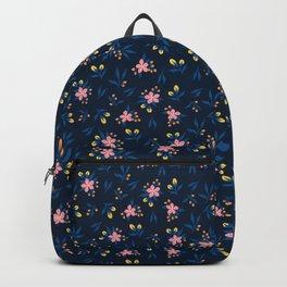 Pink Florals on Blue Backpack