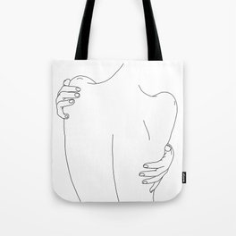 Nude womans back line drawing - Fay Tote Bag