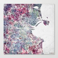 dublin Canvas Prints featuring Dublin by MapMapMaps.Watercolors