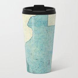 Texas State Map Blue Vintage Travel Mug