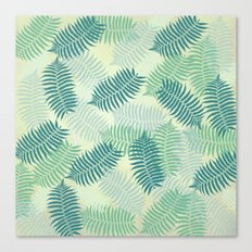 Fern Leaves on Pale Green Background Canvas Print