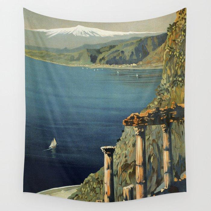 Vintage Taormina Sicily Italian travel ad Wall Tapestry
