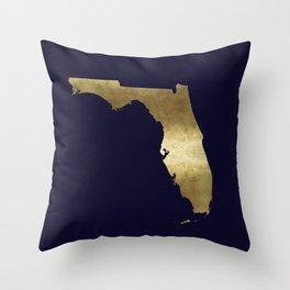 Florida Gold Foil Navy Background Throw Pillow