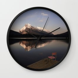 Mount Rundle At Sunset. Wall Clock