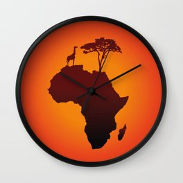 African Safari Map Silhouette Background Wall Clock