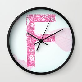 Floral Letter 'F' Wall Clock