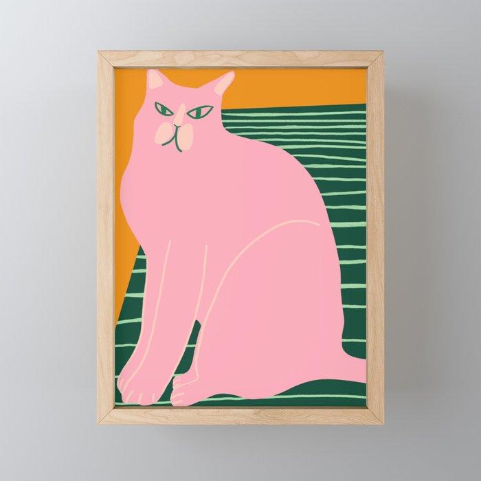 Pink Cat on Green Rug Framed Mini Art Print