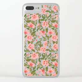 Pink Botanical Dream Pattern Clear iPhone Case