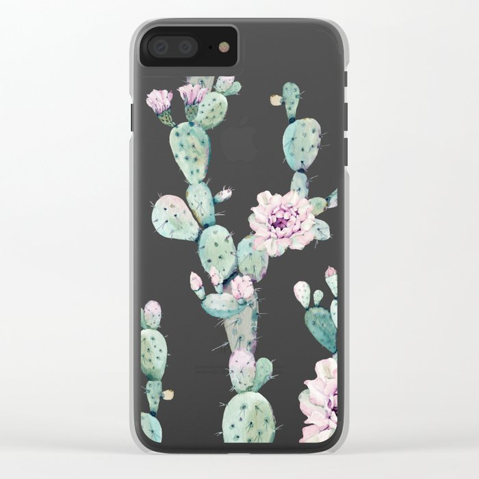 Cactus Rose Pattern on Pink Clear iPhone Case