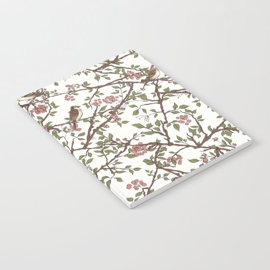 Sparrow Tree - Seamless Pattern Notebook
