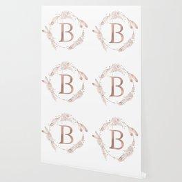 Letter B Rose Gold Pink Initial Monogram Wallpaper