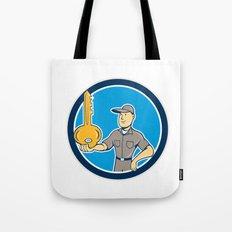 Locksmith Balancing Key Palm Circle Cartoon Tote Bag