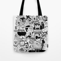doom Tote Bags featuring KIDS DOOM by WASTED RITA