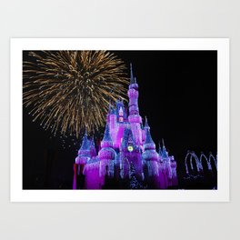 Disney Magic Kingdom Fireworks at Christmas - Cinderella Castle Art Print