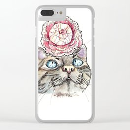 Peony Cat Clear iPhone Case