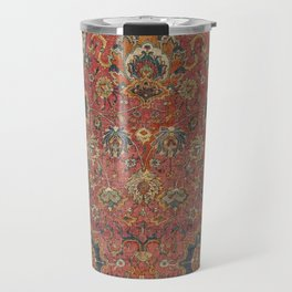 Persian Medallion Rug IV // 16th Century Distressed Red Green Blue Flowery Colorful Ornate Pattern Travel Mug