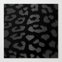 Black & Gray Metallic Leopard Print Canvas Print