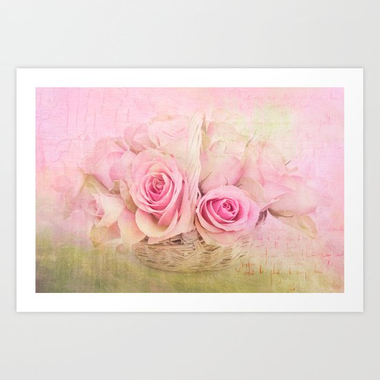 Rose Basket Art Print