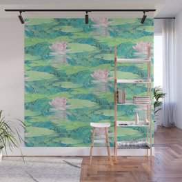 Marbled Paper Collage Water Lily Wall Mural