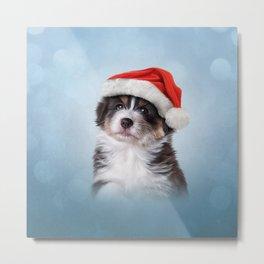 Dog puppy Australian Shepherd in red hat of Santa Claus Metal Print