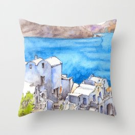 Greece ink & watercolor illustration Throw Pillow