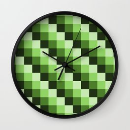 Green Monochrome Mosaic Pixl Pattern Wall Clock