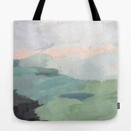 Seafoam Green Mint Black Blush Pink Abstract Nature Land Art Painting Tote Bag