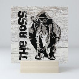 Rhino The Boss with wood background Mini Art Print