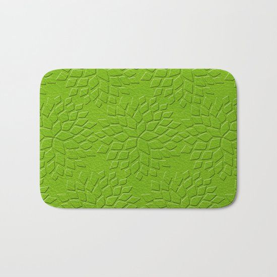 Leather Look Petal Pattern - Greenery Color Bath Mat