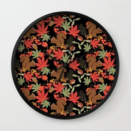 Autumn squirrel Wall Clock