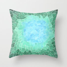 Abstract Sea Glass Throw Pillow