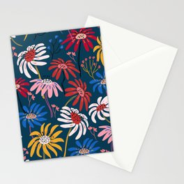 Waving floral pattern Stationery Cards