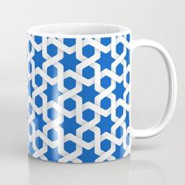 Blue Sapphire Islamic Woven Star Art Pattern Coffee Mug