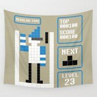 tetris Wall Tapestries featuring TETRIS: Regular Type by Josh Ln