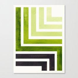 Sap Green Mid Century Modern Watercolor Colorful Ancient Aztec Art Pattern Minimalist Geometric Patt Canvas Print